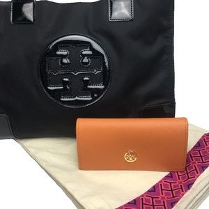 Tory Burch Black Nylon & Patent Leather Tory Tote